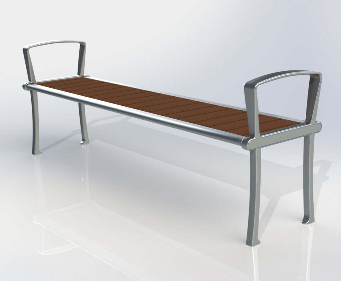 Bamboo and Cast Aluminum Bench Design