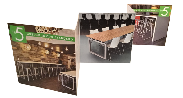 Z-fold brochure designed by Iconic Revolution to promote Hi5 Furniture's custom manufacturing capabilities to Interior Designers and Architects